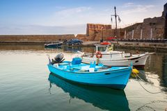 Fishing boats in the harbor of Chania on Crete royalty free stock photo