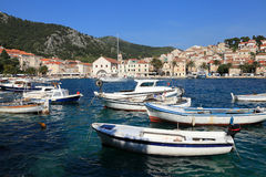 Fishing boats in harbor of the city of Hvar Royalty Free Stock Photo