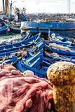 Fishing Boats in the harbor in Essaouira, Morocco Stock Photography