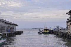 Fishing boats in harbor royalty free stock photo