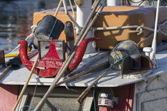 Fishing boats in harbor - horns and red panties on board Royalty Free Stock Photos
