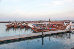 Fishing boats in the harbor of Kuwait Stock Image