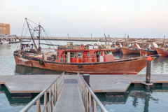 Fishing boats in the harbor of Kuwait Stock Photos