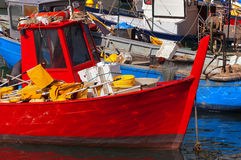 Fishing Boats in the Harbor - Liguria Italy Stock Photo