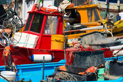 Fishing Boats in the Harbor - Liguria Italy Stock Image