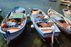 Fishing boats in the harbor of Mondello, Sicily Stock Photo