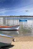 Fishing boats in the harbor of Mykonos islan Royalty Free Stock Images