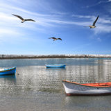 Fishing boats in the harbor of Mykonos island Stock Photography