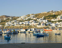 Fishing boats in the harbor of Mykonos at sunset Royalty Free Stock Photography