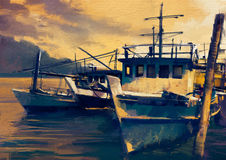 Fishing boats in harbor. Old painting style Stock Photos