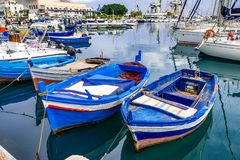 Fishing boats in the harbor of Palermo,shallow depth of field royalty free stock images