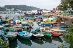 Fishing boats a harbor parked in the port. In Hong Kong royalty free stock photography