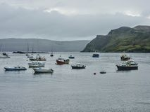 Fishing Boats in the Harbor - Portree, Isle of Skye, Scotland royalty free stock photography