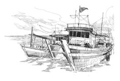 Fishing boats in a harbor. Rough sketch of fishing boats in a harbor Stock Photo
