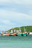 Fishing boats in harbor at the sea Koh Lan Royalty Free Stock Photos
