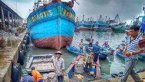 Fishing boats in the harbor of Vung Tau, Vietnam royalty free stock photo