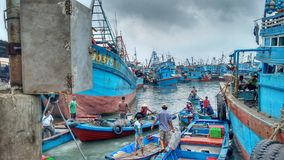 Fishing boats in the harbor of Vung Tau, Vietnam Royalty Free Stock Image
