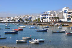 Fishing boats in harbour of Arrecife on spanish island Lanzarote Royalty Free Stock Photo