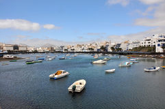 Fishing boats in harbour of Arrecife on spanish island Lanzarote Royalty Free Stock Photos