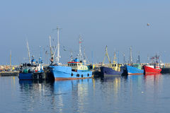 Fishing Boats in a Harbour and a Blue Sky Royalty Free Stock Photos