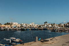 Fishing Boats in a Harbour and a Blue Sky. Tunisia. Fishing Boats in a Harbour and a Blue Sky Royalty Free Stock Image