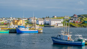 Fishing boats in the harbour in Bona Vista, Newfoundland, Canada. stock photo
