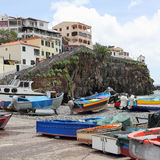 Fishing boats in the harbour of Camara de Lobos on Madeira. The former fishermen's village Camara de Lobos at the South coast of Madeira is one of the most Stock Photo