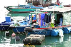 Ancient fishing boats in the harbour of Hongkong Royalty Free Stock Photography