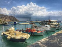 Fishing boats. In the harbour of Greece Crete Royalty Free Stock Photos