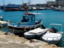Fishing Boats In Harbour In Heraklion Crete Greece. Fishing boats and  in harbour in Heraklion Crete Greece Stock Photo