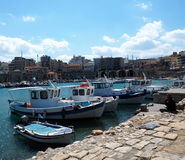 Fishing Boats In Harbour In Heraklion Crete Greece. Fishing boats and  in harbour in Heraklion Crete Greece Stock Photos