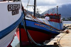 Fishing Boats in Harbour, Hout Bay, South Africa. Fishing Boats in Harbour at Hout Bay, Cape Peninsula, South Africa with Table Mountain in the background. Hout royalty free stock photography