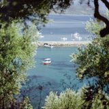 Fishing boats in the harbour of Koroni. In Greece. Picture taken in Juli 1998 Royalty Free Stock Photography