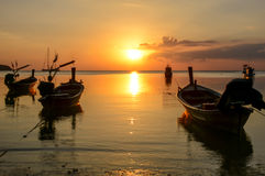 Fishing boats in harbour. Many Fishing boats in harbour ant sunset,Phuket,Thailand Stock Photo