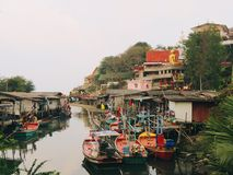 Fishing boats in a harbour. River in Thailand Royalty Free Stock Photos