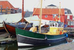 Scenic old Dutch fishing harbor,Spakenburg,Netherlands  Royalty Free Stock Photos