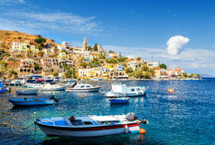 Fishing boats at harbour of Symi. Dodecanese, Greece, Europe Stock Image