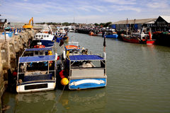 Fishing boats in the harbour at Whitstable. Kent Royalty Free Stock Image