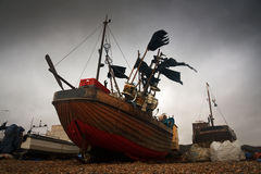 Fishing boats, Hastings, UK. Royalty Free Stock Images