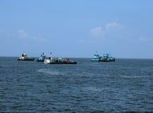 Fishing Boats. Hong Kong  July 2016 -  Fishing boats off the coast of Hong Kong on the way to Cheung Chau Island Stock Photography