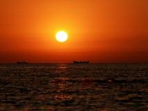 Fishing boats on the horizon Royalty Free Stock Photo
