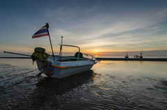 Fishing boats on the huahin beach, Thailand. With sunrise Stock Images