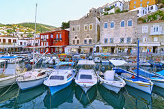 Fishing boats at Hydra port Saronic Gulf Greece royalty free stock photos