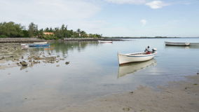 Fishing boats in the Indian ocean. In Mauritius stock video footage