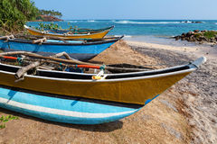 Fishing boats by the Indian Ocean. Mirissa, Sri Lanka royalty free stock image