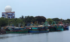 Fishing boats. Indian fishing boats on  the sea shore at nagapattinam , tamilnadu, india Royalty Free Stock Images