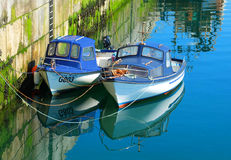 Two Fishing Boats Inishere Aran Islands Stock Images