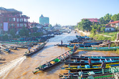 Fishing boats at Inle lake in Myanmar Stock Photos