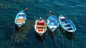 Fishing boats inside the harbor of Vernazza, Cinque Terre, Italy Stock Photography