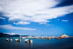 Fishing boats  in the Ionian sea Stock Photos